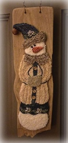 Hattie Mae Punch Needle is a pattern to create a beautiful punched snowgal that… Hattie Mae, Punch Needle Patterns, Rug Hooking Patterns, Art Textile, Penny Rugs, Hand Hooked Rugs, Craft Punches, Hook Punch, Wool Applique