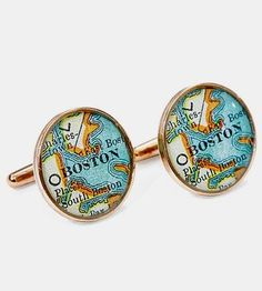 Boston Map Bronze Cufflinks by Sherry Truitt  on Scoutmob Shoppe