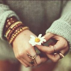 photography pretty beauty girl cute fashion beautiful sweater photo summer hippie hipster boho indie Model hands ring flower flowers brown g.