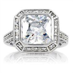 Hillary Duff Diamond Ring - Bezel Set Radiant - lots of Pave Diamonds