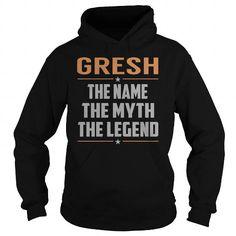 Awesome Tee GRESH The Myth, Legend - Last Name, Surname T-Shirt Shirts & Tees