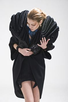 Wearable Art - sculptural fashion with a bold 3D structure and symmetry using zero waste pleated fabrics; experimental fashion design // Angus Tsui