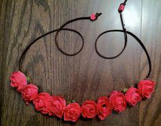 Mini Pink Rose Flowerhalo, Flower headband, Flower crown, flowerchild, flowerchildren, festivalfashion, fashion, hair, coachella, bridal