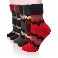 5 Pairs Women's Warm Flanging Wool Thicken Winter Socks In Cold Weather -- Find out more about the great product at the image link. (This is an affiliate link) #Clothing