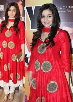 Alia Bhutt Replica Red Color Sizzling Anarkali Suit : Color : Red Fabric :        Top        : Moss Velvet        Bottom  : Santoon        Inner     : Butter        Dupatta : Nazneen
