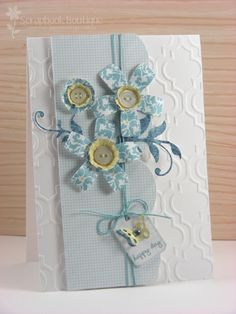 beautiful card, love the emboss background