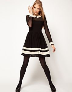 Enlarge ASOS Skater Dress In Mesh With Contrast Detail, Love everything about this dress!