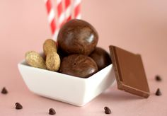 chockohlawtay: Chocolate Peanut Butter Protein Balls: Sub out peanut butter for almond/hazelnut