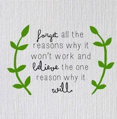 Forget All The Reasons Why It Wont Work And Believe The One Reason Why