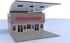 3D modular mall movie theater section for Poser and DAZ Studio is part three of five.