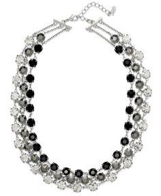 ABS by Allen Schwartz Necklace, Silver-Tone Glass Stone Three-Row Collar Necklace   macys.com
