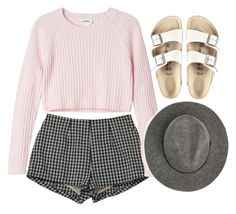 happy by tadababe on Polyvore featuring polyvore, fashion, style, Monki, Birkenstock, MANGO, clothing, Pink, Sweater, sandals and hats