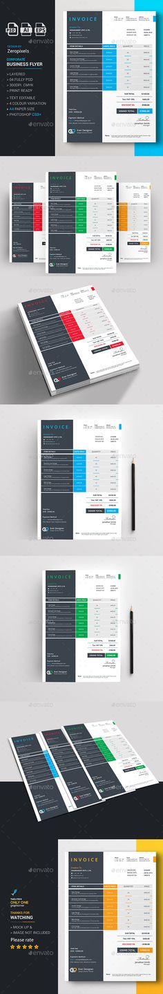 Proffesional Invoice Template 03 Cleanses, Stationery and Colors - web design invoice template