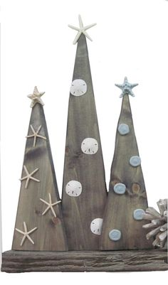 Set of 3 Wood Christmas Trees with Starfish and by ProjectCottage