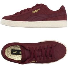 Puma X Vashtie Low-tops & Trainers ($110) ❤ liked on Polyvore featuring shoes, sneakers, garnet, low profile sneakers, round cap, flat sneakers, crocs sneakers and crocodile leather shoes