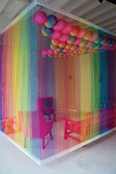 Wacky colorful room. Home decor design. Love the jacket but the hair. I just don't get it.▲▲$129.9   www.lvbags-pick.com