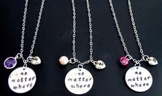 Check out this item in my Etsy shop https://www.etsy.com/listing/256685964/no-matter-where-necklace-initial