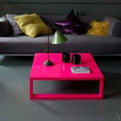 Hot Pink Lacquered Coffee Table.