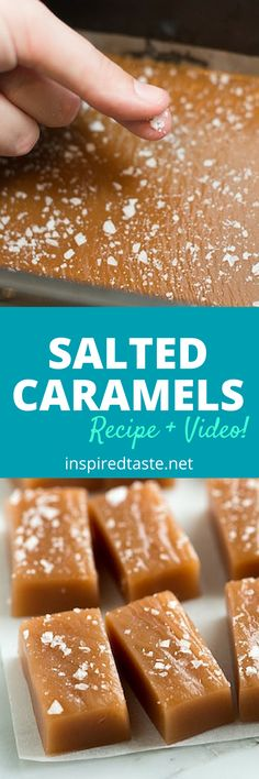 These salted caramels are soft chewy and perfectly melt away in your mouth See the full recipe and watch the quick recipe video on Caramel Recipes, Candy Recipes, Dessert Recipes, Homemade Food Gifts, Homemade Candies, Diy Food, Food Food, Just Desserts, Delicious Desserts