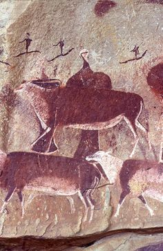Bushman Rock Paintings at Game Pass Shelter in the Kamberg Nature Reserve of the Central KwaZulu Natal Drakensberg.
