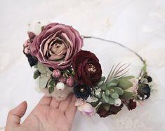 Mauve Dusty Rose Burgundy Green Lilac Flower Crown \ Bridal Flower Crown Asymmetric Flower Headband Woodland Headpiece Eucalyptus Crown