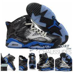promo code a00cf b6dff Nike Air Jordan 6   Classique Chaussure De Basket Homme Noir Bleu-2 Soldes