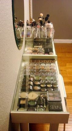 DIY Makeup Organization. Super inexpensive with help from IKEA and Walmart and your imagination. Perfect way to create a Makeup vanity and organize all of your makeup goodies!