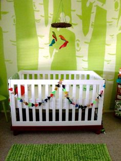 birch tree mural in a kids room...via apartment therapy