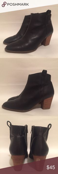 "Madewell black leather Billie Boot, 6 Madewell black leather Billie Boot • the perfect minimal heeled black leather bootie • zipper on inside of boot • retails for $228‼️ • 2.5"" heel (approximate) • women's US size 6 • genuine 🇮🇹 Italian leather upper and wooden lower • gently worn • in excellent condition • scuff mark on back of right heel (see last photo) - shouldn't hinder the overall look of these beautiful boots! Madewell Shoes Ankle Boots & Booties"