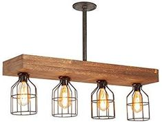 Farmhouse Natural Reclaimed Rustic Wooden Light Industrial Perfect for Kitchen 32 Vintage Rustic Wood Beam Pendant Light Antique Decor Chandelier Island Billiard and Edison Bulb Decor Bar