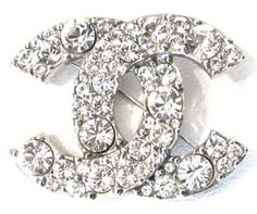 Chanel Crystal Pin 2013 CC Silver Brooch