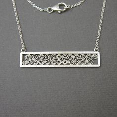 Modern yet romantic: fine silver and argentium filigree necklace by MissSilver