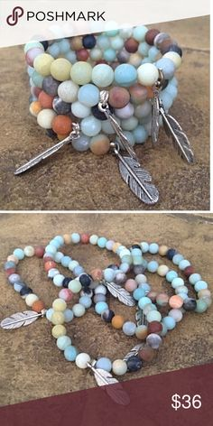 Day at the Beach boho bracelet, NWT Don't these colors remind you of the beach? Made with frosted amazonite beads & their signature feather charm, this bracelet stretches to fit any size. Note- they are sold individually, but they look great stacked (bundle & save) Boho Gypsy Sisters Jewelry Bracelets