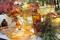 Southern Vintage Wedding Rentals- Amber glass perfect for fall wedding