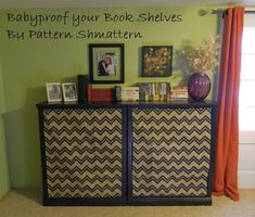 Fabric Panels to Baby Proof your Bookshelf-- By Pattern Shmattern.  Thinking to cover my open shelf tea cabinet, with a pretty Asian fabric.