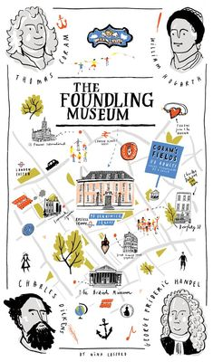 Nina Cosford - Tea towel map design for the Foundling Museum, London Travel Illustration, Graphic Illustration, Map Design, Graphic Design, Dm Poster, City Maps, Illustrations And Posters, Guide Book, Plans