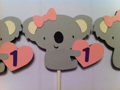 12 koala cupcake toppers jungle animal baby by MCHSweetDesigns, $8.49