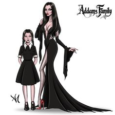 Morticia & Wednesday Addams by Armand Mehidri