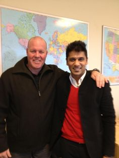 Anand Dani visits with Toby Eck (left), our VP of Sustainable Sourcing atHQO.