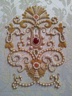 Pearl and bead embroidery. Zardosi Embroidery, Pearl Embroidery, Tambour Embroidery, Couture Embroidery, Silk Ribbon Embroidery, Hand Embroidery Designs, Beaded Embroidery, Embroidery Patterns, Couture Embellishment