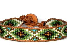 Bead Loom Bracelet Leather Wrap Bracelet Green Garden Seed