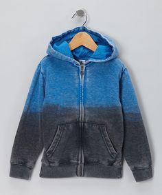 Blue Dip-Dye Zip-Up Hoodie on #zulily