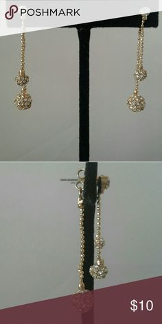 Earrings Doble face rhinestone earrings gold color finish new no tags Jewelry Earrings