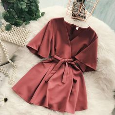 New Chic Casual Pure Color Temperament V-neck Horn Sleeve High Waist Dress - - Source by Elegant Dresses, Pretty Dresses, Casual Dresses, Short Sleeve Dresses, Dresses For Work, Sexy Dresses, Summer Dresses, Formal Dresses, Wedding Dresses