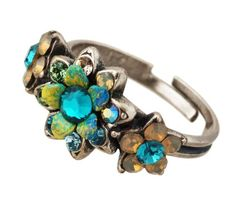 Michal Negrin Ring with Hand-Painted Flower, Turquoise, Green and Gray Swarovski Crystals