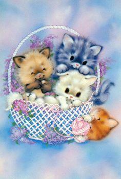 Vintage postcard Kitty's in a basket door CuteEyeCatchers Postcard Display, Postcard Art, Postcard Template, Postcard Design, Vintage Greeting Cards, Vintage Postcards, Poster Vintage, Graffiti Kunst, Birthday Wishes Flowers
