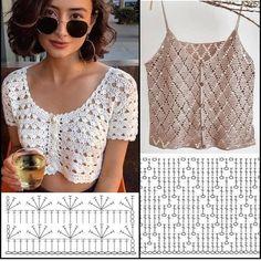 Motif Bikini Crochet, Débardeurs Au Crochet, Crochet Shirt, Crochet Crop Top, Crochet Woman, Mode Du Bikini, Crochet Summer Tops, Crochet Fashion, Crochet Designs