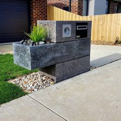 Concrete charcoal 3 piece unique custom letterbox with floating planter box bespoke handmade furniture eingang