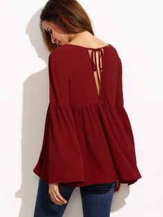 Shop Burgundy Bell Sleeve Cutout Back Babydoll Blouse online. SheIn offers Burgundy Bell Sleeve Cutout Back Babydoll Blouse & more to fit your fashionable needs. Moda Hippie Chic, Hijab Fashion, Fashion Dresses, Mode Hijab, Dress Outfits, Bell Sleeves, Clothes For Women, Collar Blouse, Blouse Online