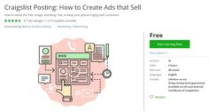 Coupon Udemy - Craigslist Posting: How to Create Ads that Sell (Free) - Course…